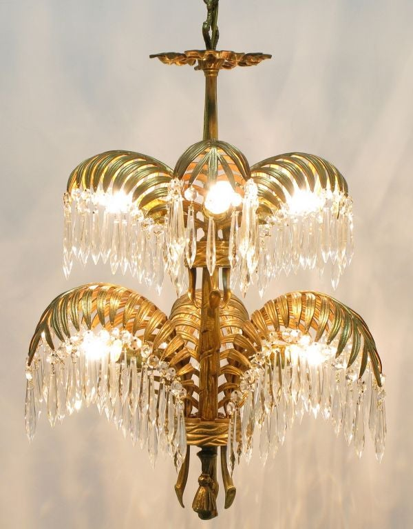 Bronze Dore And Crystal Palm Frond Chandelier At 1stdibs