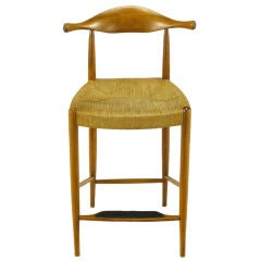 Teak & Rush Counter Height Barstool After Hans Wegner