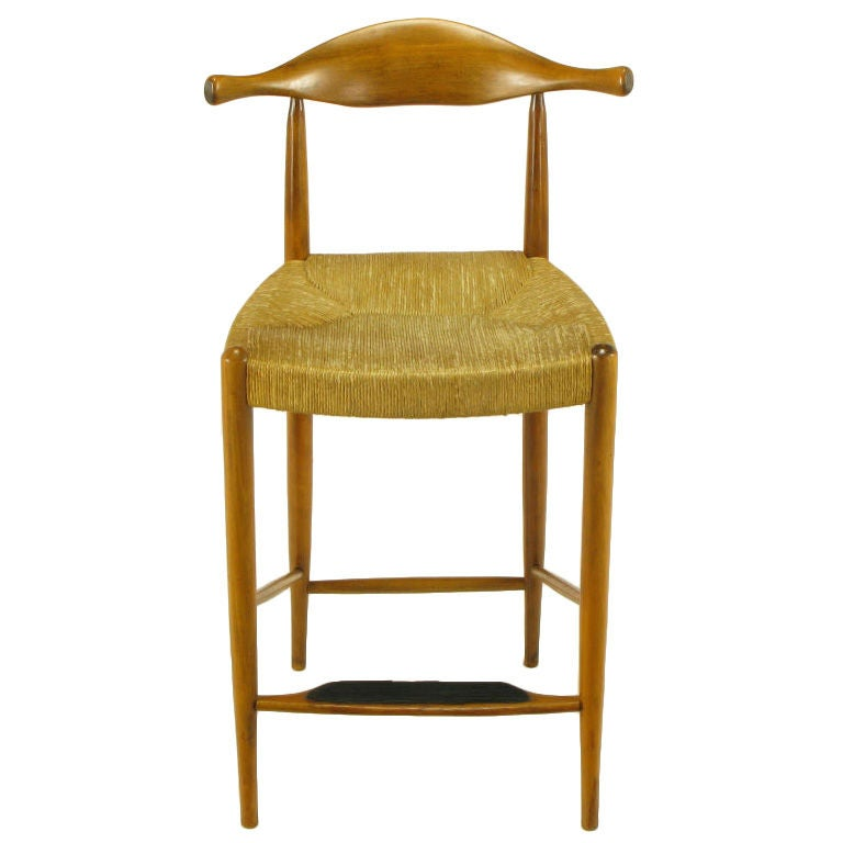 Teak And Rush Counter Height Barstool After Hans Wegner