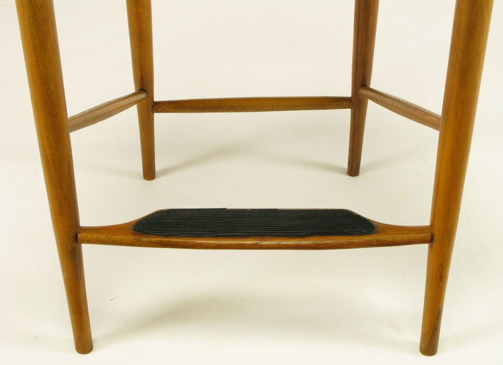 Teak And Rush Counter Height Barstool After Hans Wegner At