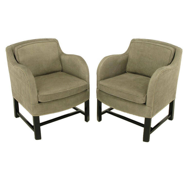 Pair Grey Elephant Hide Finish Leather Club Chairs At 1stdibs
