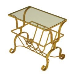 Gilt Iron & Glass Side Table With Magazine Caddy.
