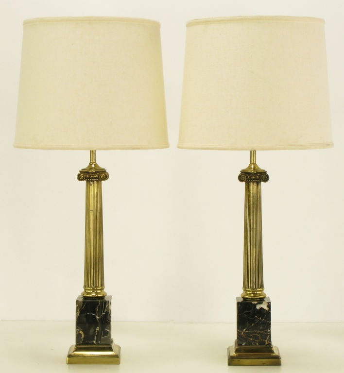Pair brass and black portoro marble ionic column table lamps for pair of neoclassical ionic column table lamps with black italian portoro marble block bases reeded aloadofball Images