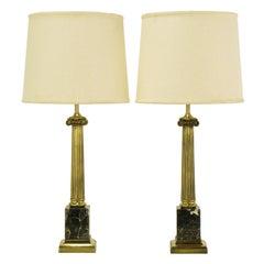 Pair Brass & Black Portoro Marble Ionic Column Table Lamps
