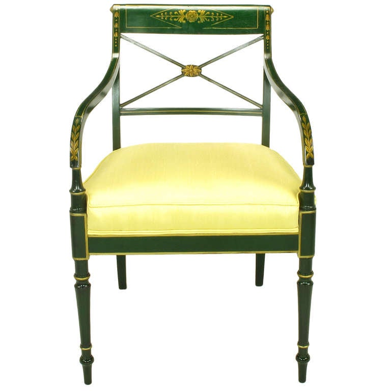 Italian Sofa Brent Cross: Emerald Green And Parcel Gilt Regency Cross Back Armchair