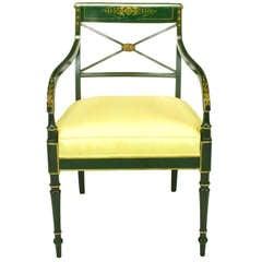 Emerald Green & Parcel Gilt Regency Cross Back Armchair
