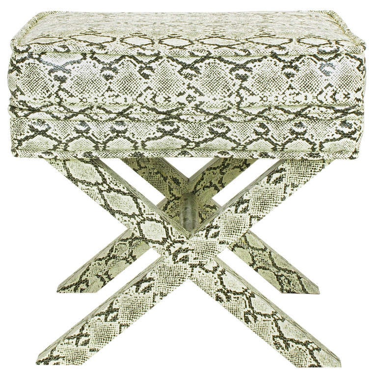 Faux Python X-Base Stool After Billy Baldwin. For Sale