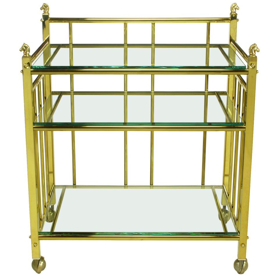 Three Tiered Brass & Glass Bar Cart With Horse Head Details