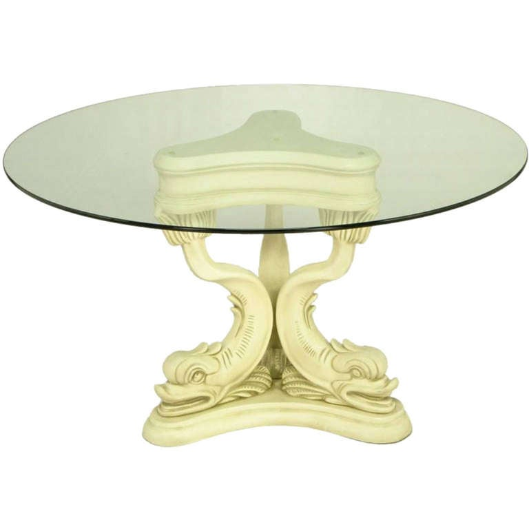 Regency Style Dolphin Dining Table In Glazed Ivory Lacquer