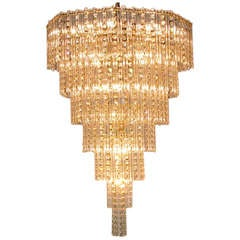 Seven Tier Crystal Beads and Rods Brass Chandelier