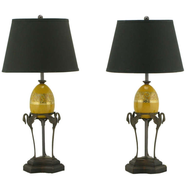 Pair Frederick Cooper Swan & Ostrich Egg Form Table Lamps