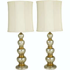 Pair Silver & Gold Leaf Stacked Oval Table Lamps