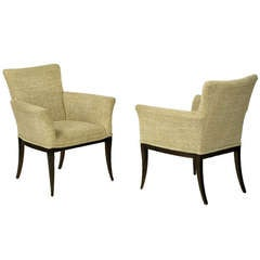 Pair Crepe Wool Clad Saber Leg Lounge Chairs