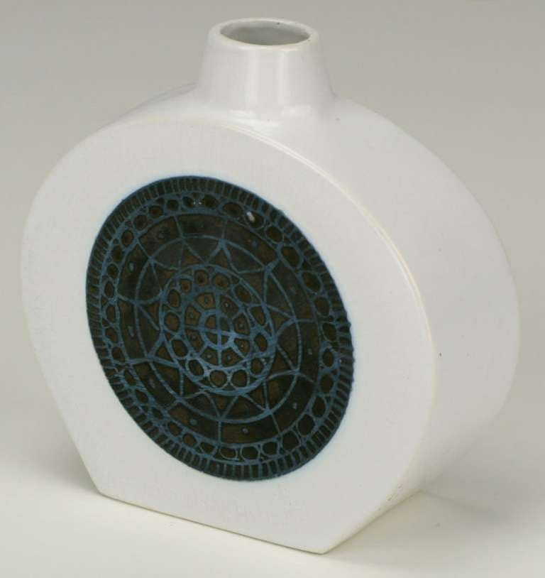 Troika Art Pottery White Vase With Blueblack Celtic Relief And