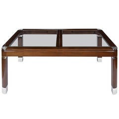 Mahogany, Chrome and Glass Dining Table