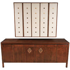 Bert England Walnut, White and Brass Sideboard with Floating Wall Cabinet