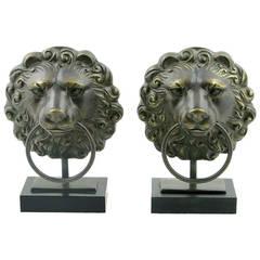 Pair of Cast Bronze Lion's Head Mantel Lamps
