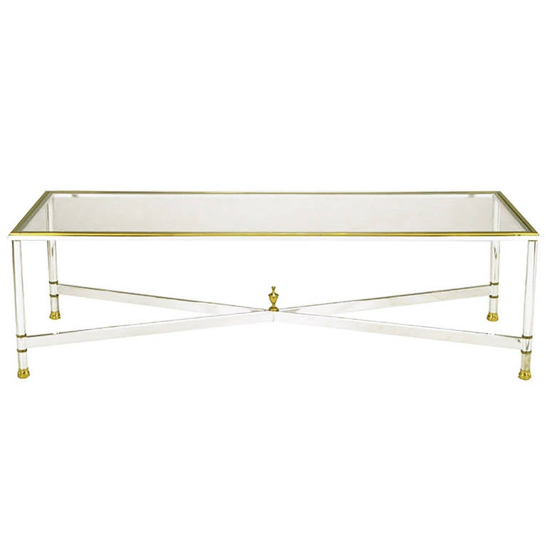 Chrome Brass And Glass Regency X Base Coffee Table At