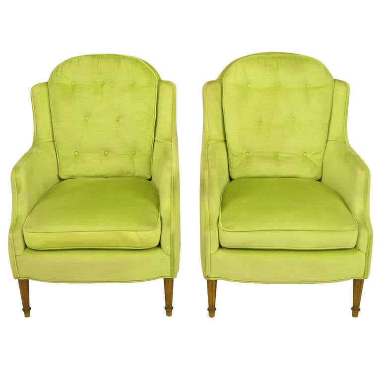 Pair Of Chartreuse Yellow Green Velvet Regency Lounge Chairs 1