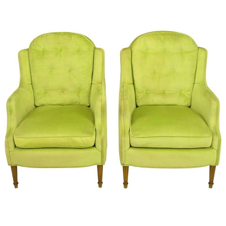 Pair Of Chartreuse Yellow Green Velvet Regency Lounge