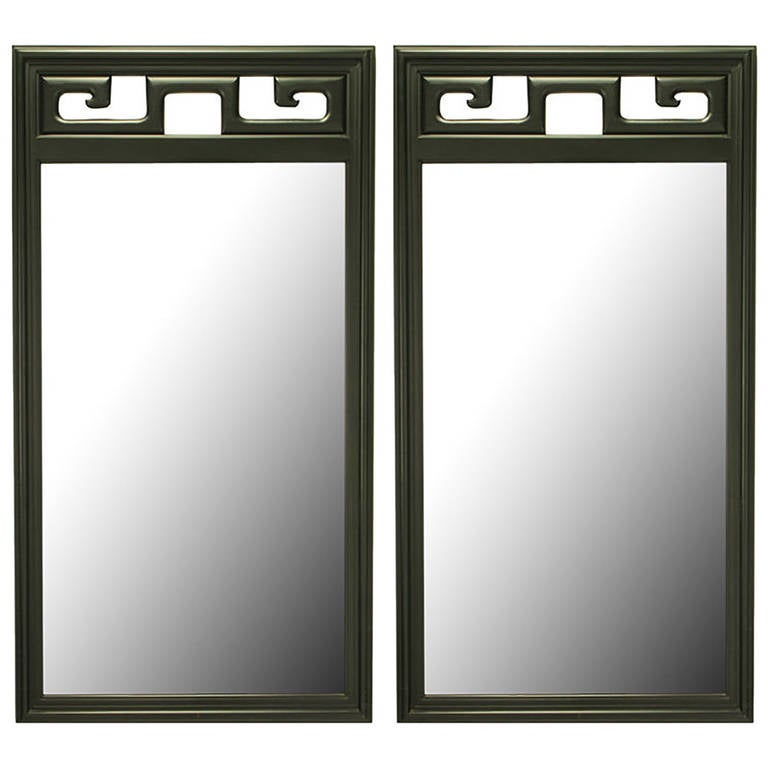 Pair of Black Lacquer Asian Greek Key Panel Mirrors 1