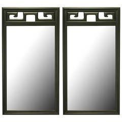 Pair of Black Lacquer Asian Greek Key Panel Mirrors
