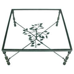 Giacometti Inspired Verdigris Green, Wrought Iron Coffee Table