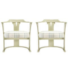 Pair of Bone Lacquer Sled Base Barrel Chairs
