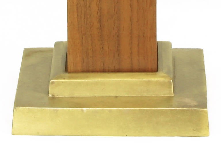 Pair of Walnut Obelisk Table Lamps with Tiered Brass Plinths 4
