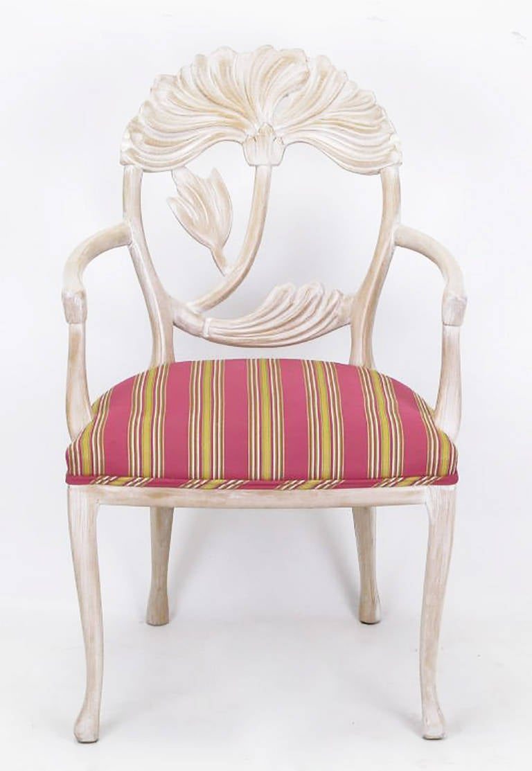 Four Lime Wash Floral Carved Dining Chairs in the Manner of Phyllis Morris 2