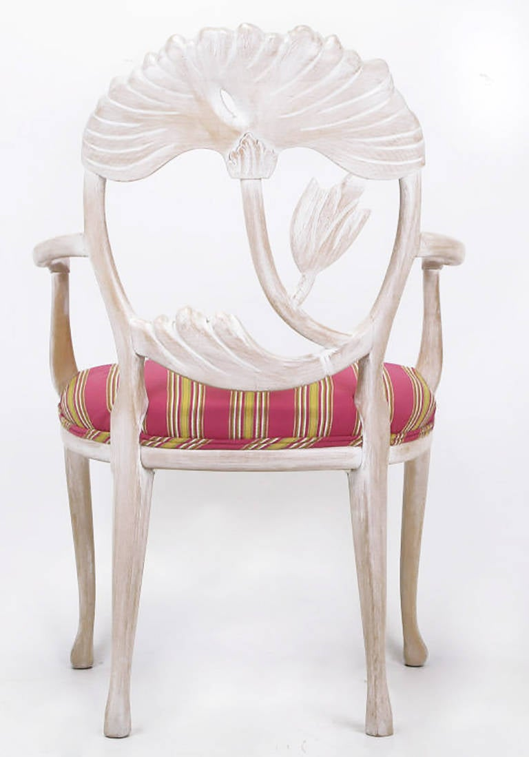 Four Lime Wash Floral Carved Dining Chairs in the Manner of Phyllis Morris 6