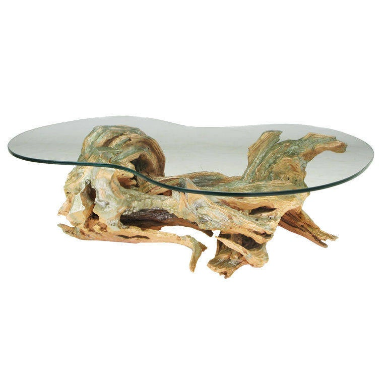 Faux Driftwood Coffee Table: Driftwood Form, Cast Resin Coffee Table At 1stdibs