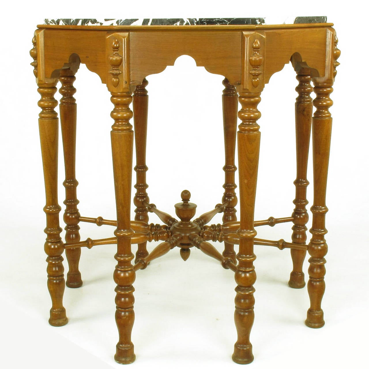 American Eight-Leg Walnut and Marble Eastlake Center Table For Sale