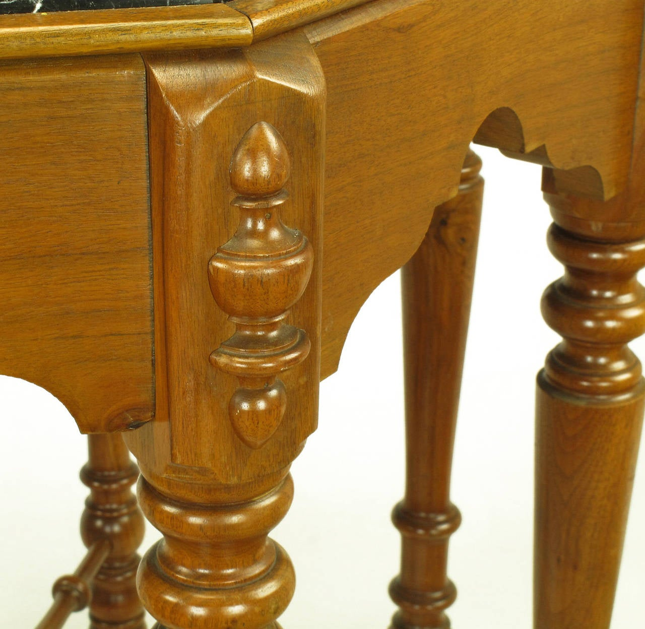 Eight-Leg Walnut and Marble Eastlake Center Table For Sale 1