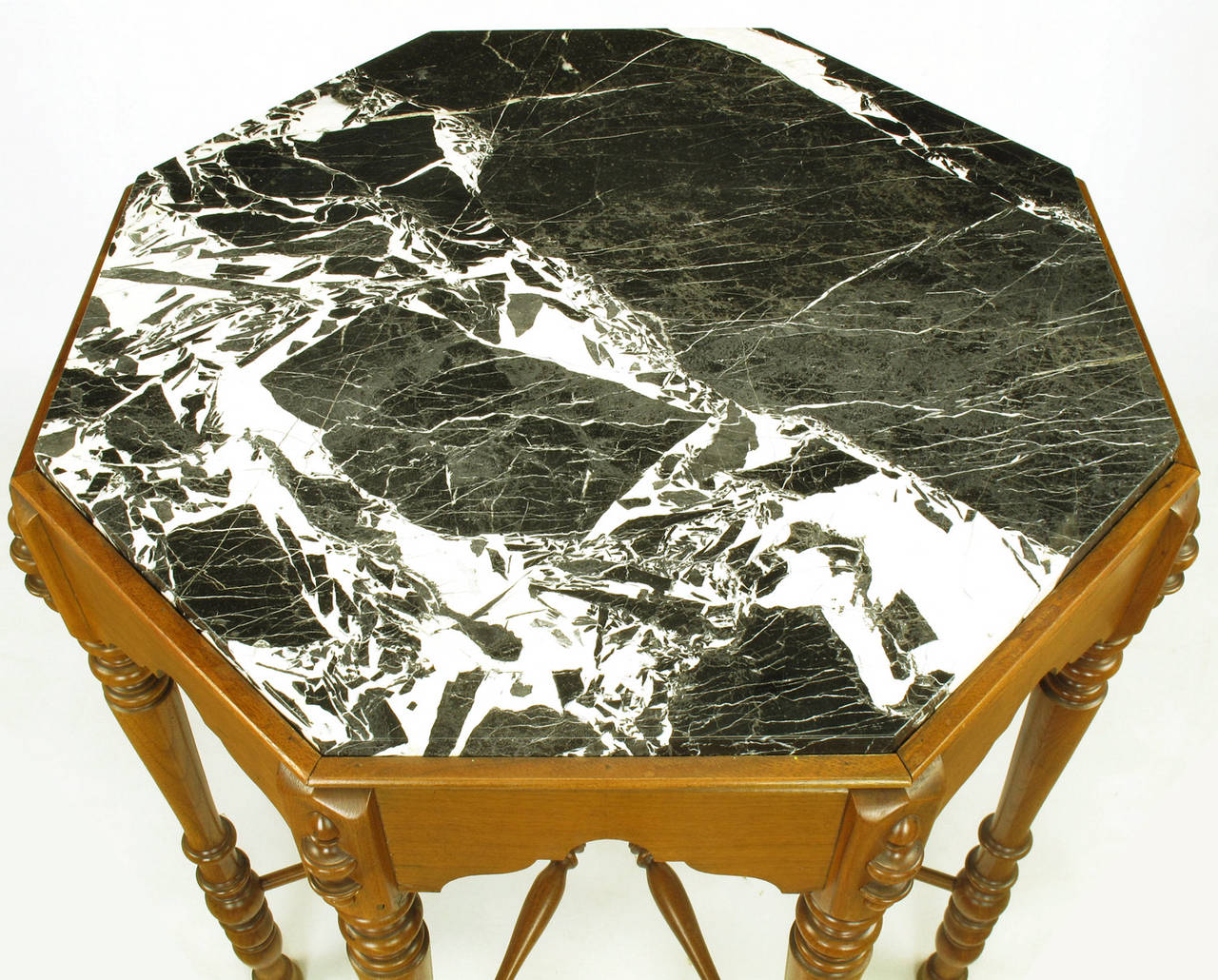 Eight-Leg Walnut and Marble Eastlake Center Table For Sale 2