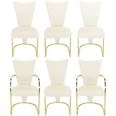 Six DIA Postmodern Brass and Wool Dining Chairs