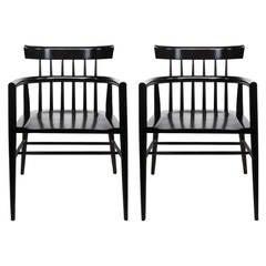 Pair of Paul McCobb Dark Maple Modern Windsor Style Armchairs