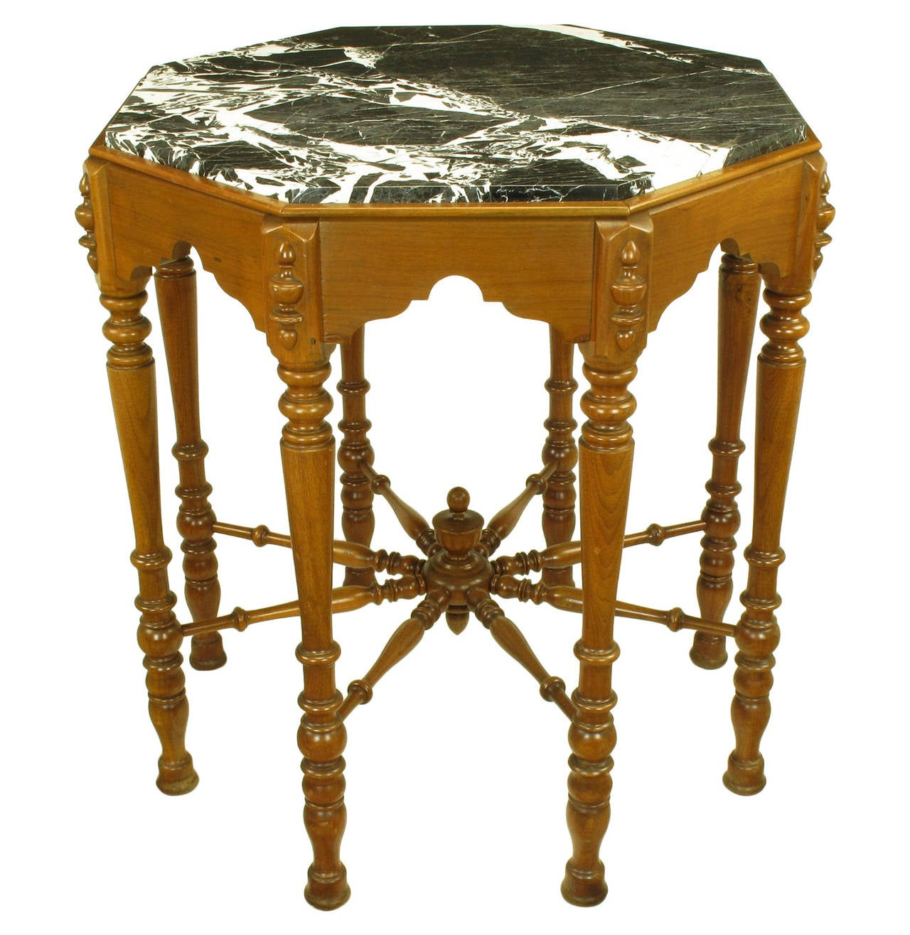 Eight leg walnut and marble eastlake center table for sale for Center table legs