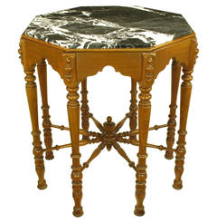 Eight-Leg Walnut and Marble Eastlake Center Table