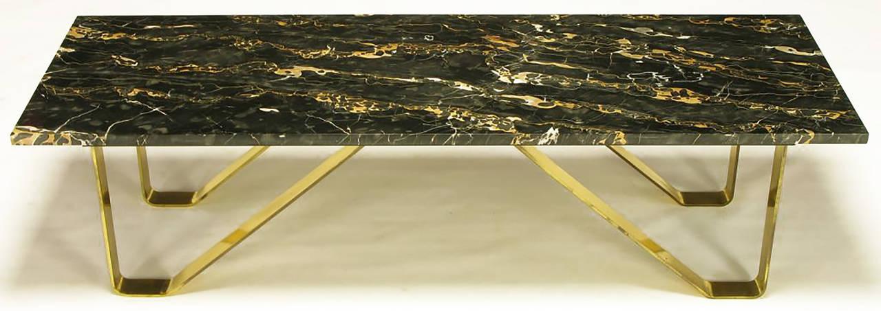 Mid-20th Century Custom Italian Portoro Marble and Brass Coffee Table For Sale
