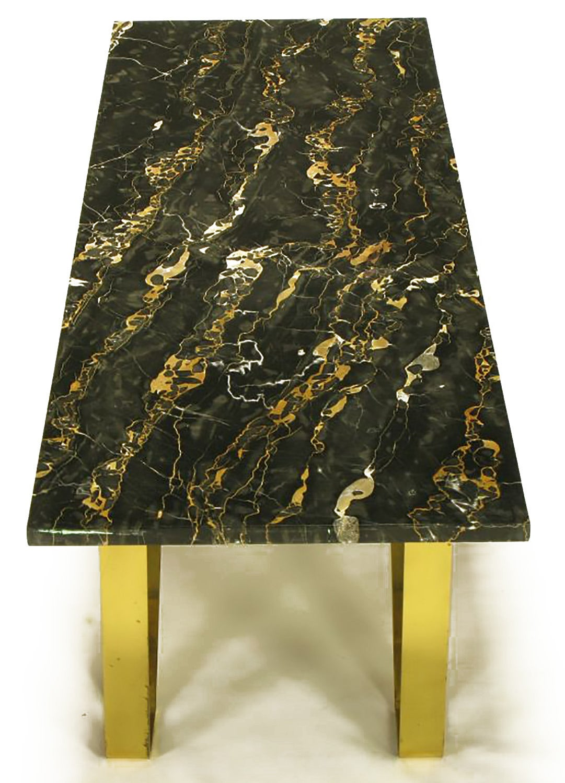 Custom Italian Portoro Marble and Brass Coffee Table For Sale 1
