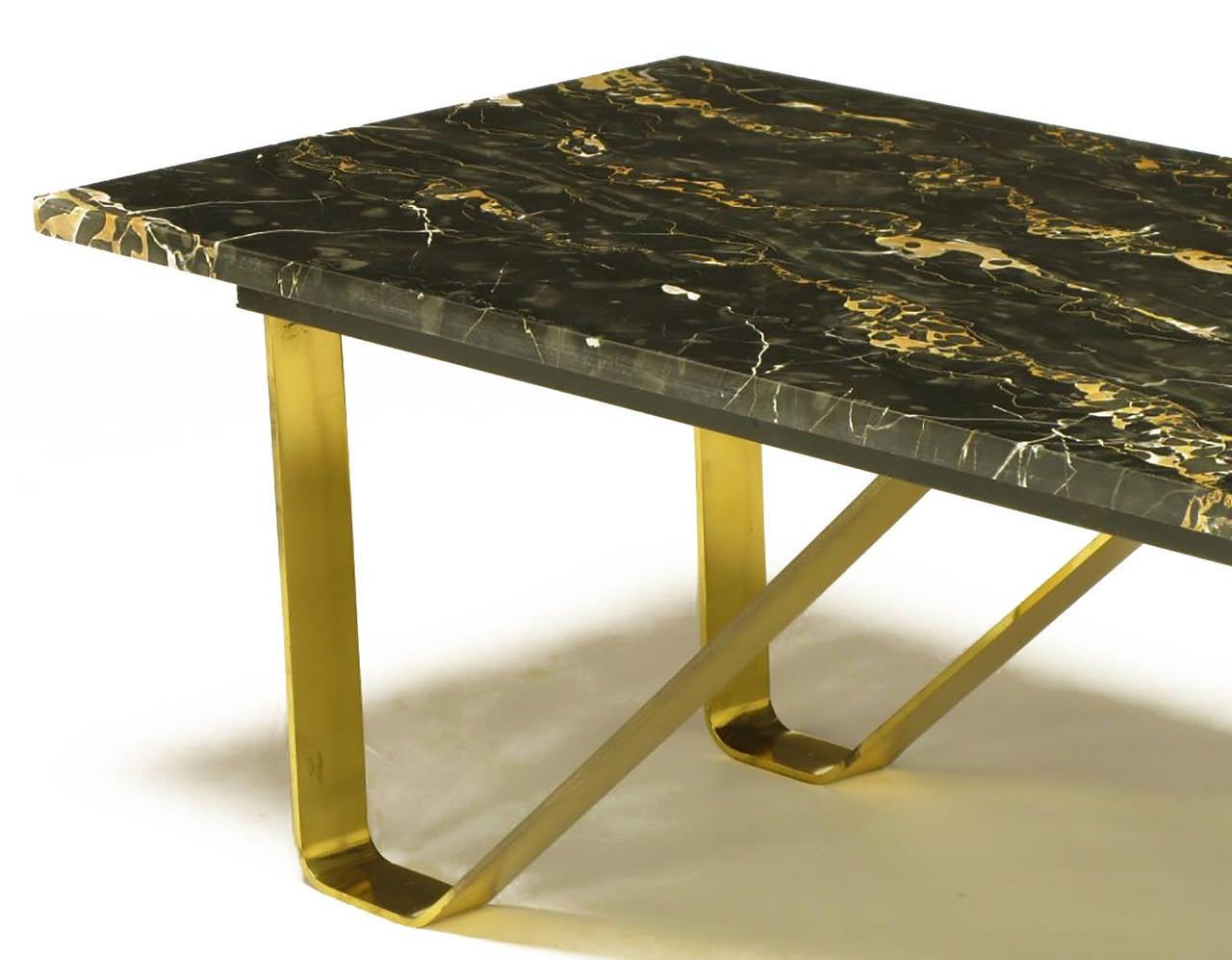 Custom Italian Portoro Marble and Brass Coffee Table For Sale 2
