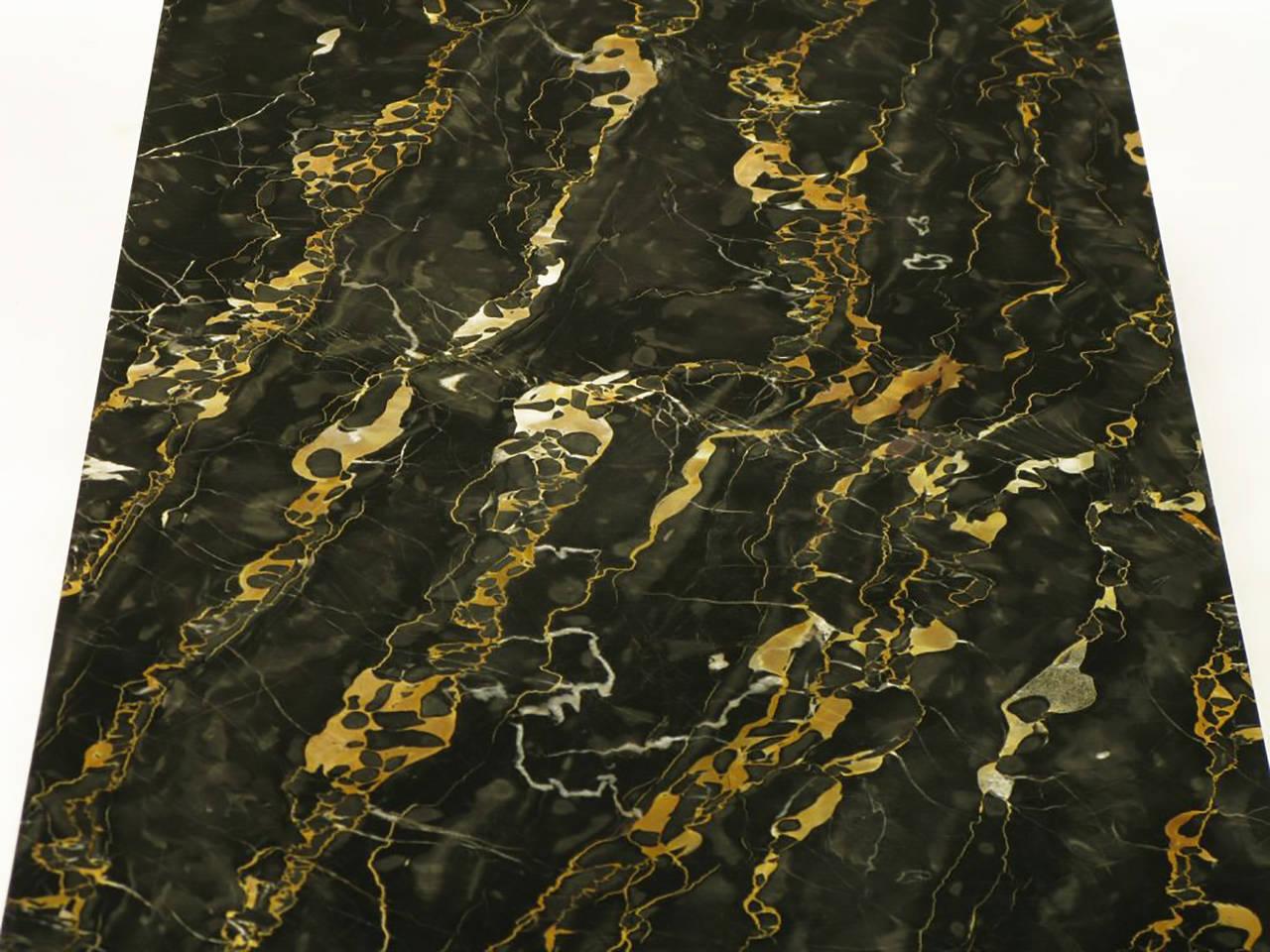 Custom Italian Portoro Marble and Brass Coffee Table For Sale 3