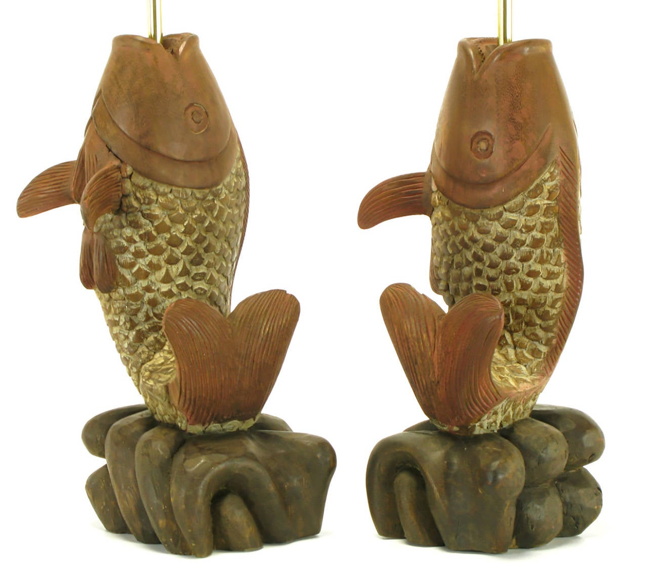 Substantial pair of hand carved wood koi fish table lamps