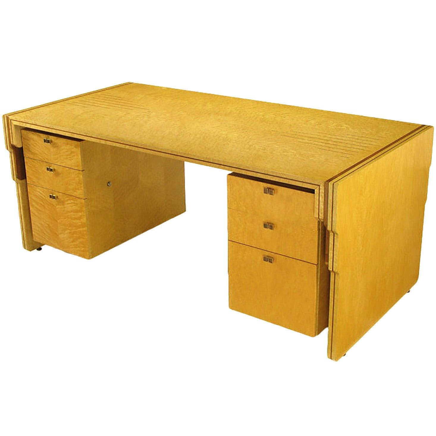 Pierre Paulin Bird's-Eye Maple and Walnut Inlay Executive Desk