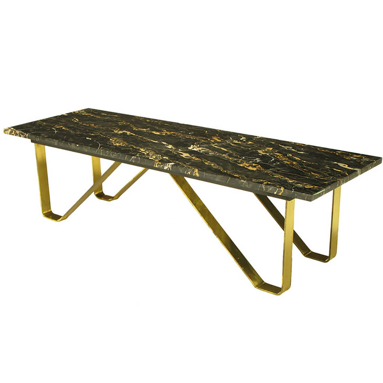 Custom Italian Portoro Marble And Brass Coffee Table For