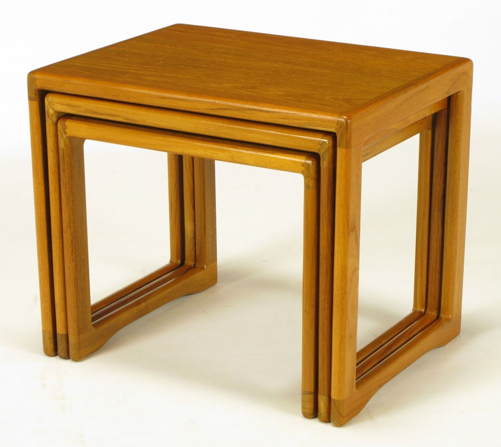 Three teak wood sled base nesting tables for sale at stdibs