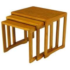Three Teak Wood Sled-Base Nesting Tables