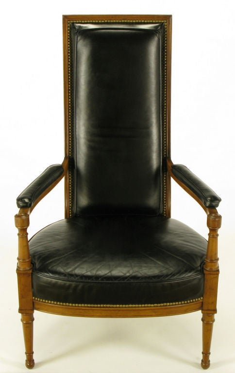 Heritage Walnut And Black Leather High Back Arm Chair At