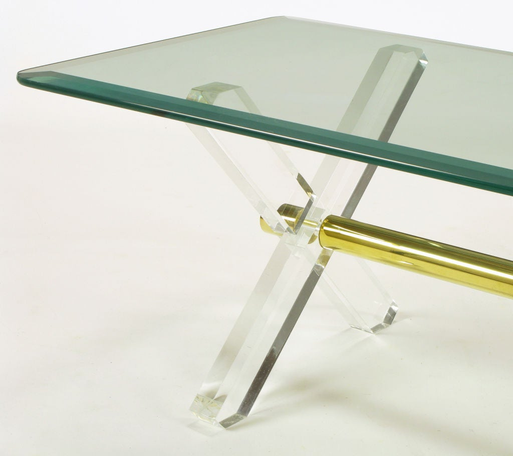 Lucite And Brass X Base Trestle Coffee Table At 1stdibs
